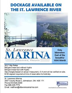 Seasonal Boat Slip rental St. Lawrence Marina $45/ft Johnstown