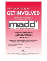 MADD OPEN HOUSE & VOLUNTEER INFO - April 3rd,  ALL WELCOME!!