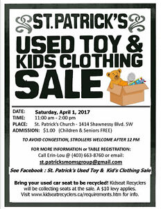 St. Patrick's Used Toy & Kid's Clothing Sale - April 1