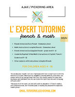 FRENCH AND MATH TUTORING AVAILABLE FOR ONLY $15/HOUR+EQAO PREP