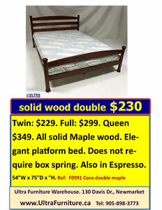 DOUBLE BED SPECIALS! $230 SOLID WOOD BED
