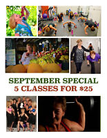 5 FITNESS CLASSES FOR $25 - September Special