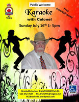 Karaoke with  The Colonel Sunday July 16th