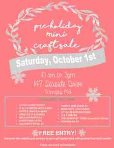 Pre holiday Mini Craft Sale  Oct 1, 10 am to 3pm
