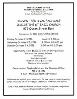 TABLES AVAILABLE TO RENT FOR THE HARVEST FESTIVAL FALL SALE