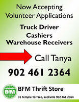 Cashiers, Warehouse Receivers & Truck Drivers Wanted