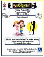 Karaoke  Friday  August  5th, 19th  7:30- 11:30pm
