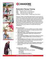 Restorative Therapy Training, Parry Sound, Canadore College