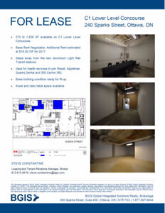 Prime Retail Space for Lease in Downtown Ottawa