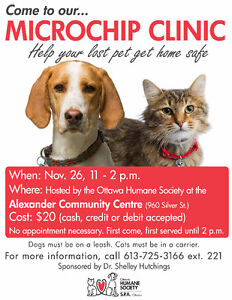 $20.00 Microchip Clinic hosted by the Ottawa Humane Society