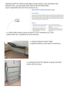 Medical Furniture, Exam Lamps, Filing cabinet
