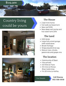 Mini Home, Garage and 8.6 Acres for Sale