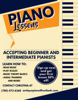 Private Piano Lessons – Affordable Pricing – 1st Lesson 50% Off!
