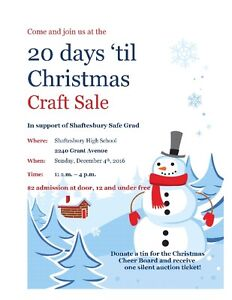20 Days Til Christmas Craft Sale - seeking crafters!