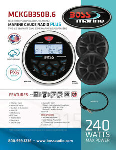 BOSS AUDIO Marine-Gauge System with AM/FM Receiver, Speakers etc