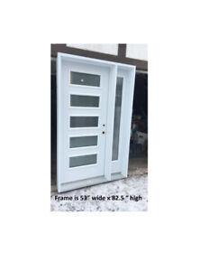 Lovely  5 Light Steel Entry Door with Sidelight