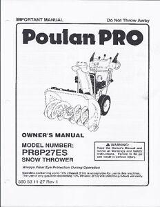 Poulan PRO PR8P27ES SNOW THROWER 27 In. 208 CC