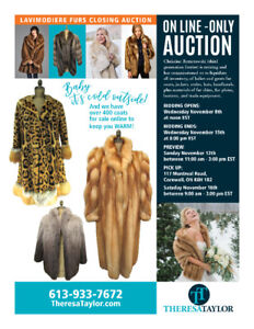 Baby It's Cold Outside! Online-Only Furrier Auction