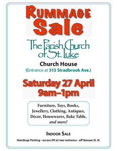 Fabulous Spring Rummage Sale,at St Luke's Anglican Church