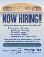 SCHOOL BUS RUNS AVAILABLE FOR SEPTEMBER!  TRAIN NOW FOR FREE!