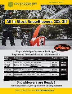 SCE has ariens snow blowers 20% off!