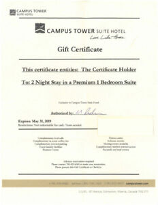 GIFT CERTIFICATE FOR (2) NIGHTS AT THE CAMPUS TOWER SUITE HOTEL