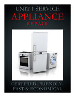 CERTIFIED APPLIANCE  REPAIR - SERVICE TO MOST HOME PRODUCTS -