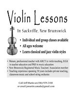 Violin Lessons in Sackville NB