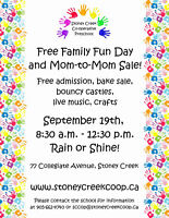 MOM TO MOM SALE & FREE FAMILY FUN DAY- Sat Sept 19, 2015