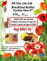 All you can eat  Breakfast  May 8th, 8:30am - 11:00 Brockville L