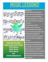 Voice, Cello, and Piano Music Lessons!