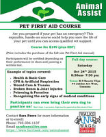 Certified Walks 'N' Wags Pet First Aid Course Oct 24 2015