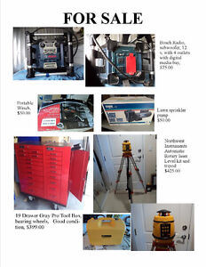 various power tools and large tool box