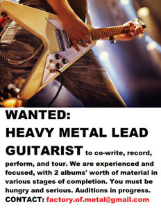 WANTED: LEAD GUITARIST