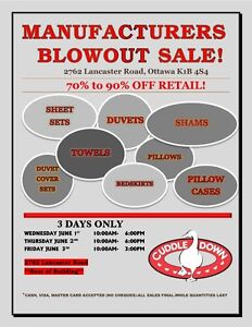 Warehouse Sale - Bedding and Bathroom linens