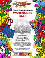 Warehouse Sale at COMIC BOOK ADDICTION - August 13, 9 am to 4 pm