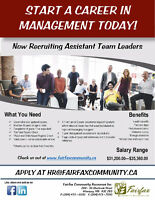 Now Recruiting Assistant Team Leaders!