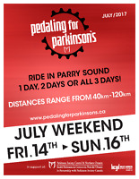 Pedaling for Parkinsons, Parry Sound