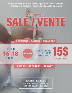 Women's Lingerie Warehouse Sale (Cash only)