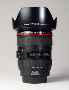 like new canon EF 24 105 F4 L IS USM zoom lens with hood