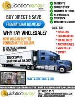 LIQUIDATION CENTER - WHOLESALE SALES - PALLETS & TRUCKLOADS !