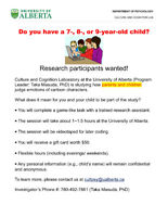 Do you have a 7, 8, 9 YO child? Research participants wanted!