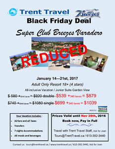 Black Friday SUPER DEAL - TRENT TRAVEL Peterborough Peterborough Area image 1