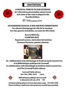 A MUSICAL TRIBUTE TO OUR VETERANS Cornwall Ontario image 1
