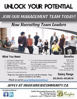 Now Recruiting Team Leaders!