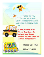 Pick and drop services from work/school/ day care/home