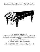 Beginner Piano Lessons - Ages 5 and up