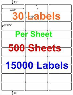 500 Sheet 15000 1x 2 58 Address Shipping Labels Laser Injet Adhesive 2.625 X 1