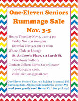 One-Eleven Seniors' Fall Rummage Sale