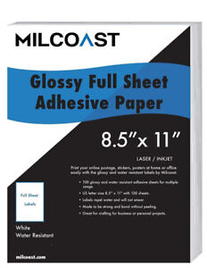 "Glossy White Water Resistant Adhesive Paper - 8.5"" x 11"""